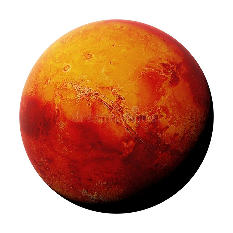 The red planet Mars isolated on white background, part of the solar system 3d space render, elements of this image are furnished. Artist`s impression of the red royalty free stock image