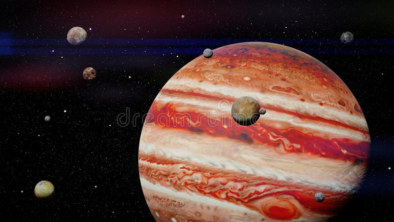 Planet Jupiter with some of the 79 known moons in outer space 3d science rendering, elements of this image are furnished by NASA. Artist`s interpretation of the royalty free stock photography