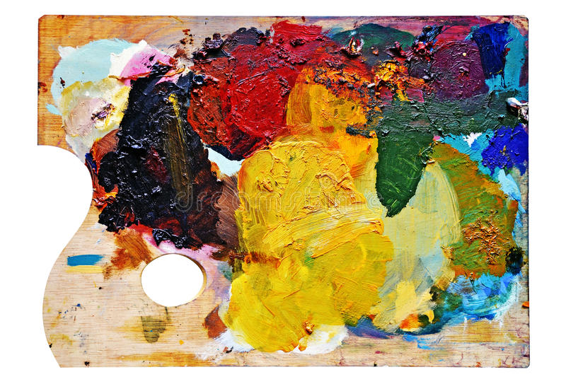 Artist's palette with blobs of color royalty free stock images