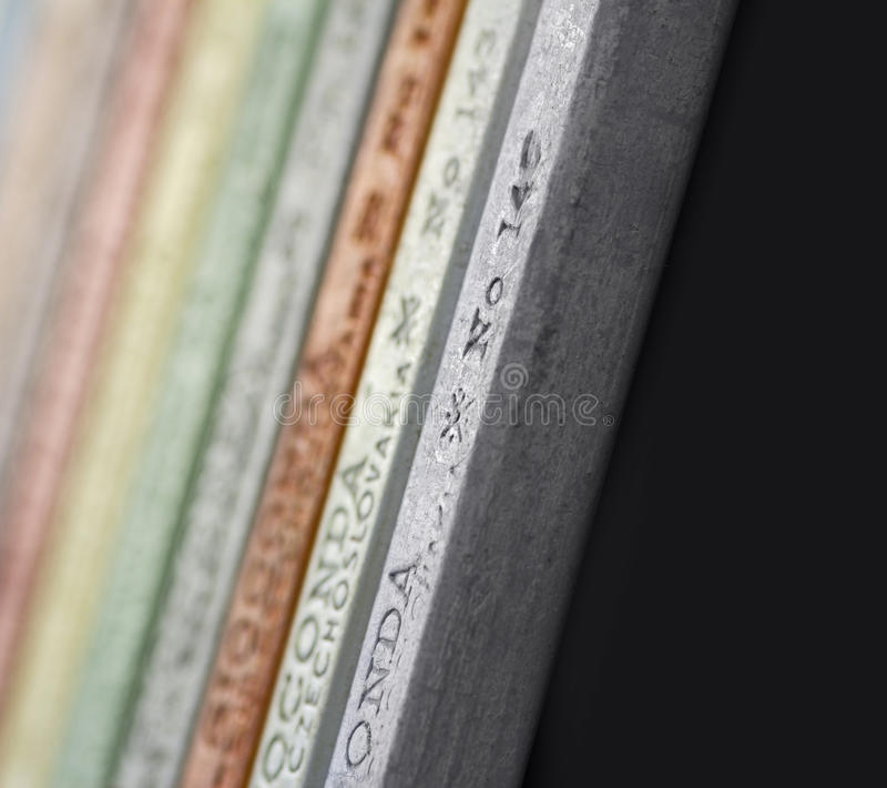 Artist´s pastels, detail macro shot with low DOF royalty free stock photo