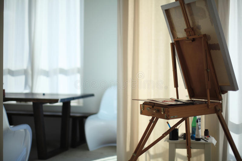The artist`s workshop. Calm still life composition royalty free stock photography