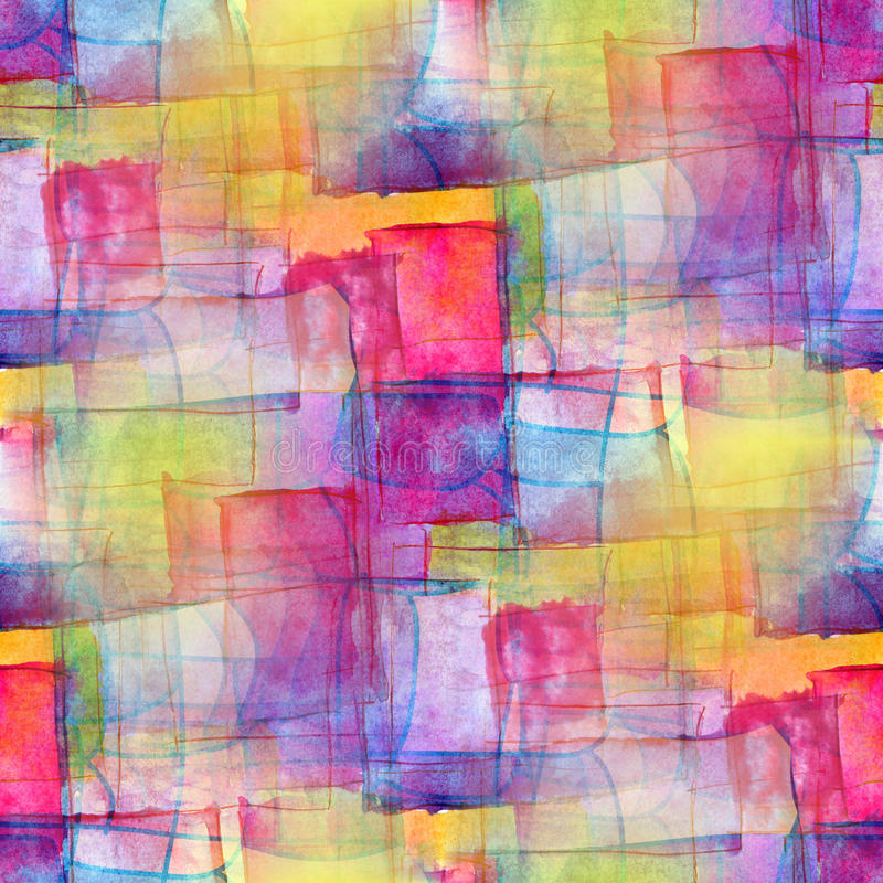 Artist seamless blue cubism abstract watercolor royalty free illustration