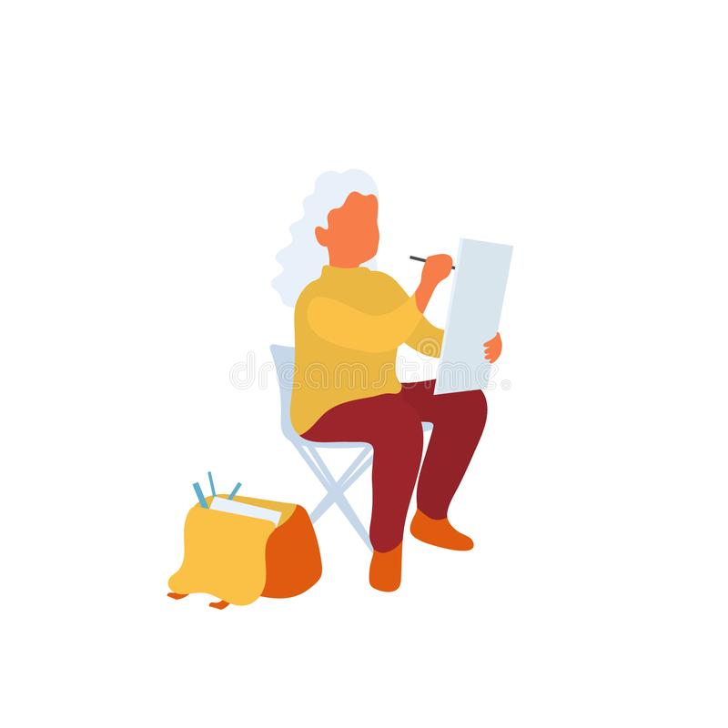 Artist sitting drawing outside in the park on portable stool vector illustration
