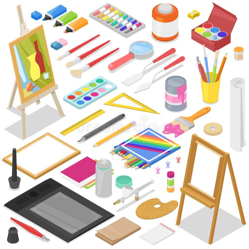 Artist tools vector watercolor with paintbrushes palette and color paints on canvas for artwork in art studio royalty free illustration