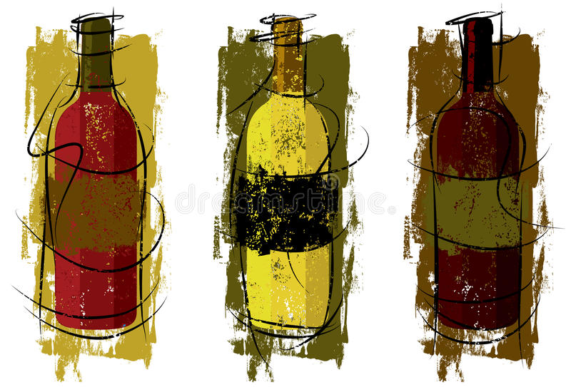 Artist Wine Bottles stock illustration