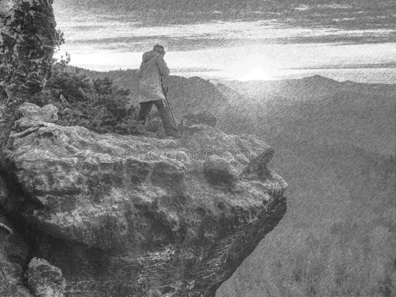 Artist woman with mirror camera on peak of rock. Dreamy  lland stock photos