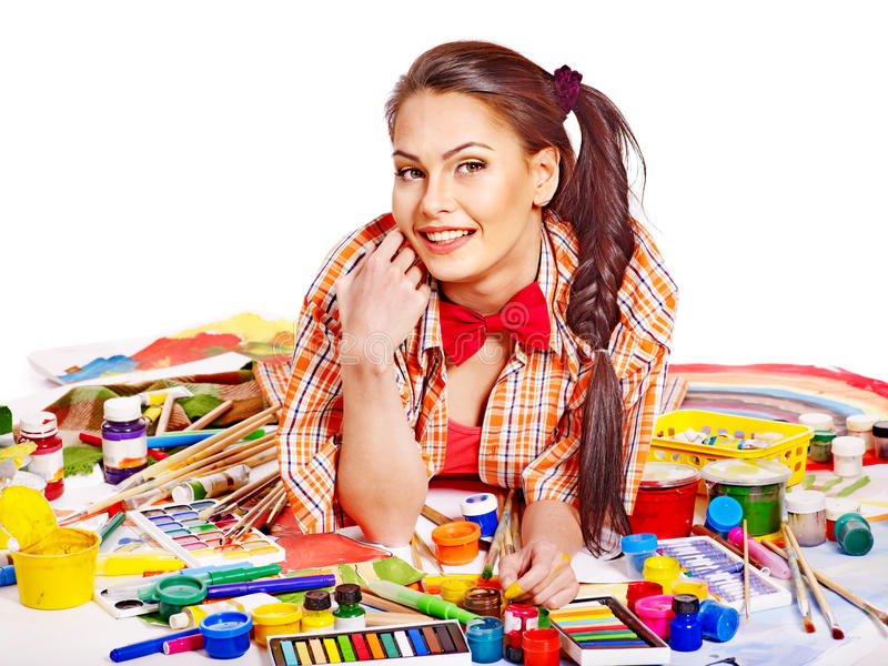 Download Artist Woman With Paint Palette. Stock Photo - Image: 28880588