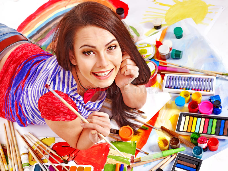 Download Artist Woman With Paint Palette. Stock Photo - Image: 28880692