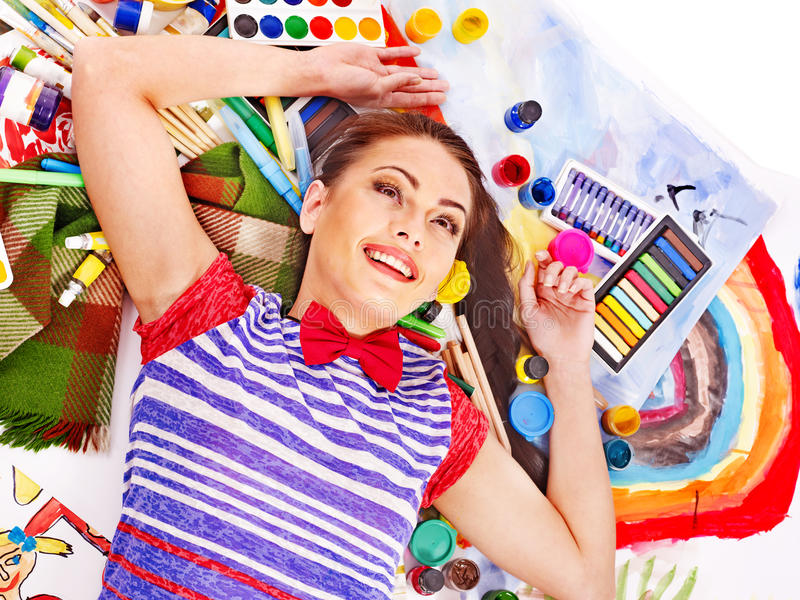 Download Artist Woman With Paint Palette. Stock Image - Image: 28880741
