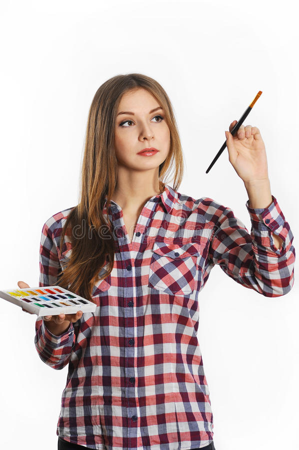 Artist woman at work. Isolated. royalty free stock images