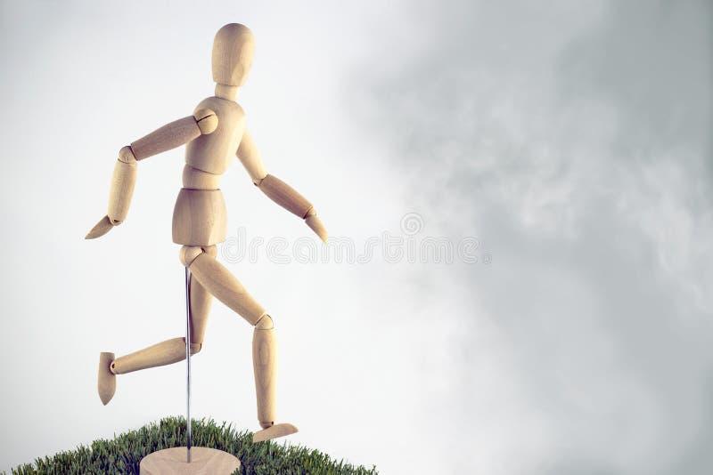 Artist wooden dummy runner stock image