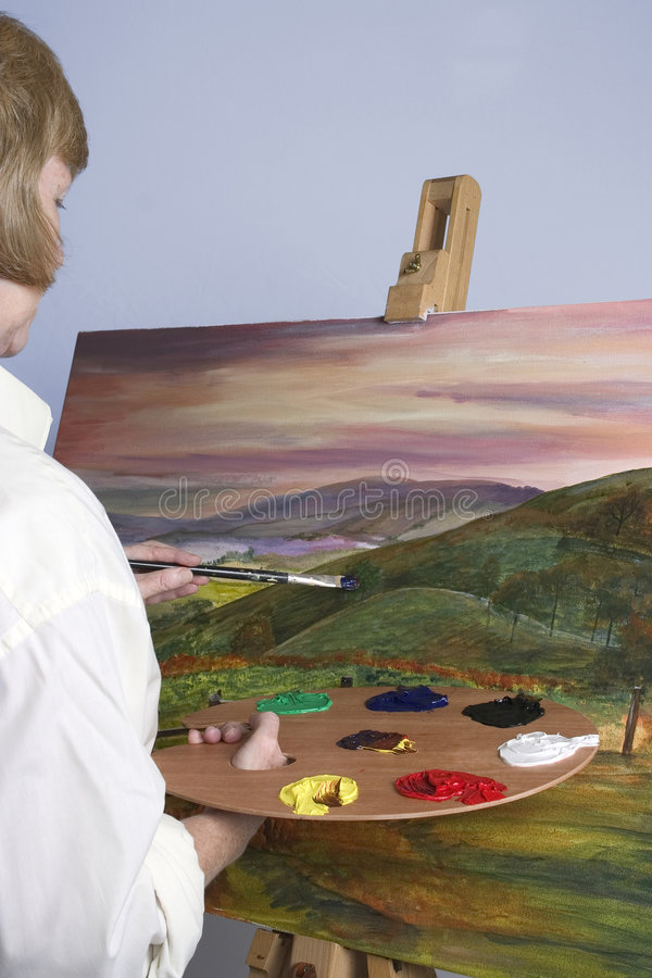 Download Artist at work stock photo. Image of paint, colours, easel - 204870