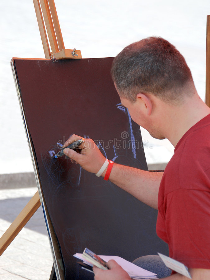 Artist at work stock photography