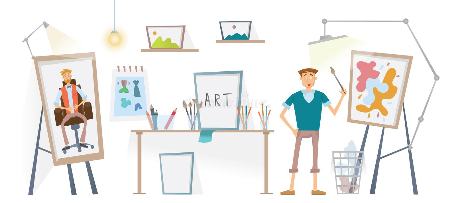 The artist working in his Studio. The man with the brush standing at the easel. Vector illustration. vector illustration