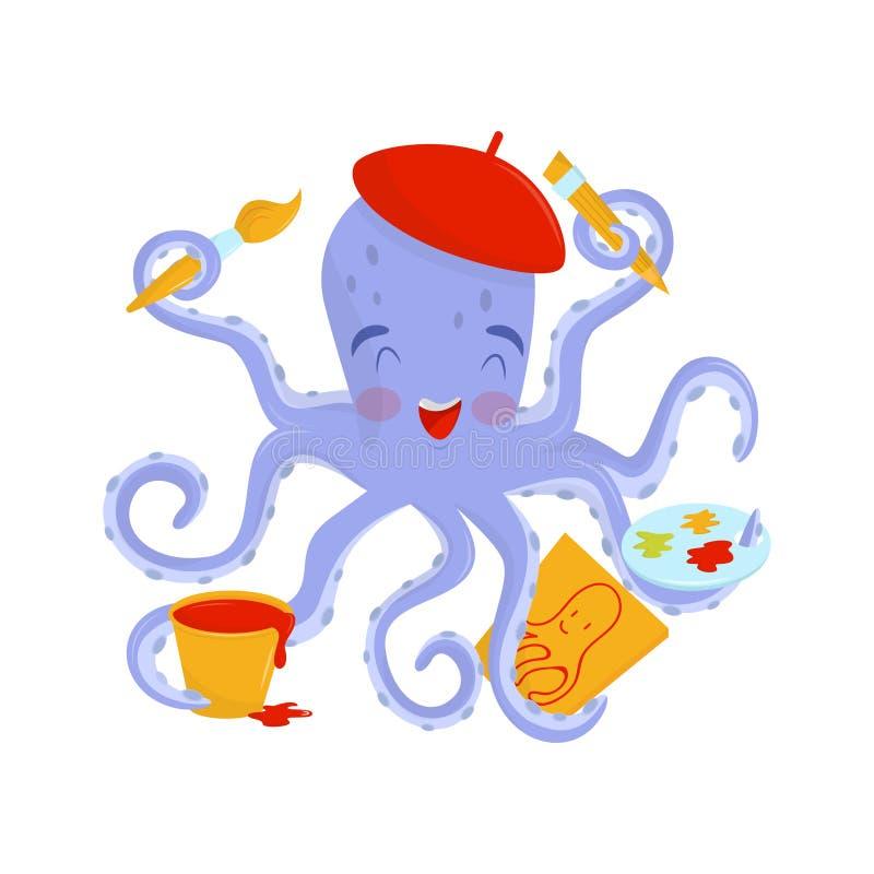 Artista alegre del pulpo con las mejillas rosadas en boina roja Animal de mar divertido que sostiene las herramientas de dibujo e ilustración del vector