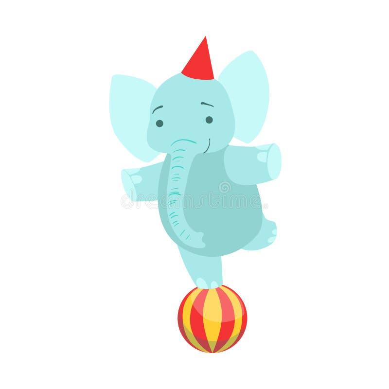 Artista animal entrenado circo Performing Balancing On del elefante una pierna en el truco de la bola para la demostración del ci stock de ilustración