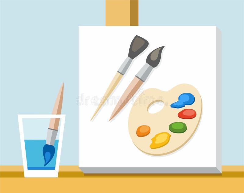 Artista da escova, da pintura, da paleta e da lona ilustração royalty free