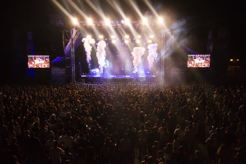 Artista da música do relógio da audiência no festival imagem de stock royalty free
