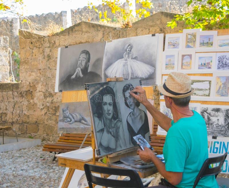 Artista da rua no Rodes imagens de stock