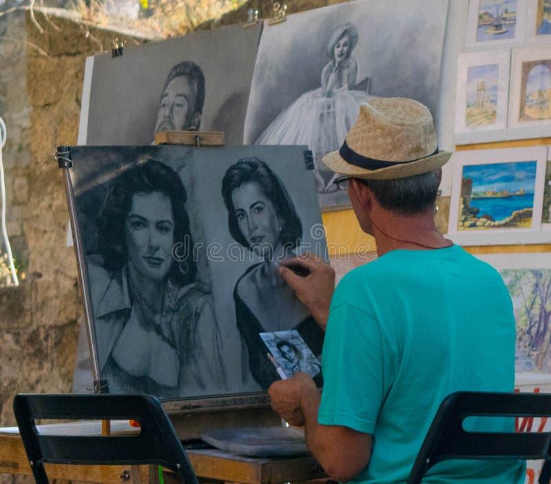 Artista da rua no Rodes imagens de stock royalty free