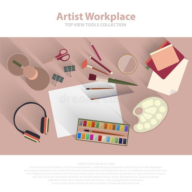 Artista da tavolino del posto di lavoro, pittore, concetto di punto di vista superiore del progettista vuoto Modello piano di sti royalty illustrazione gratis