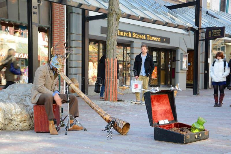 Artista de la calle en Burlington, Vermont, los E.E.U.U. imagen de archivo libre de regalías