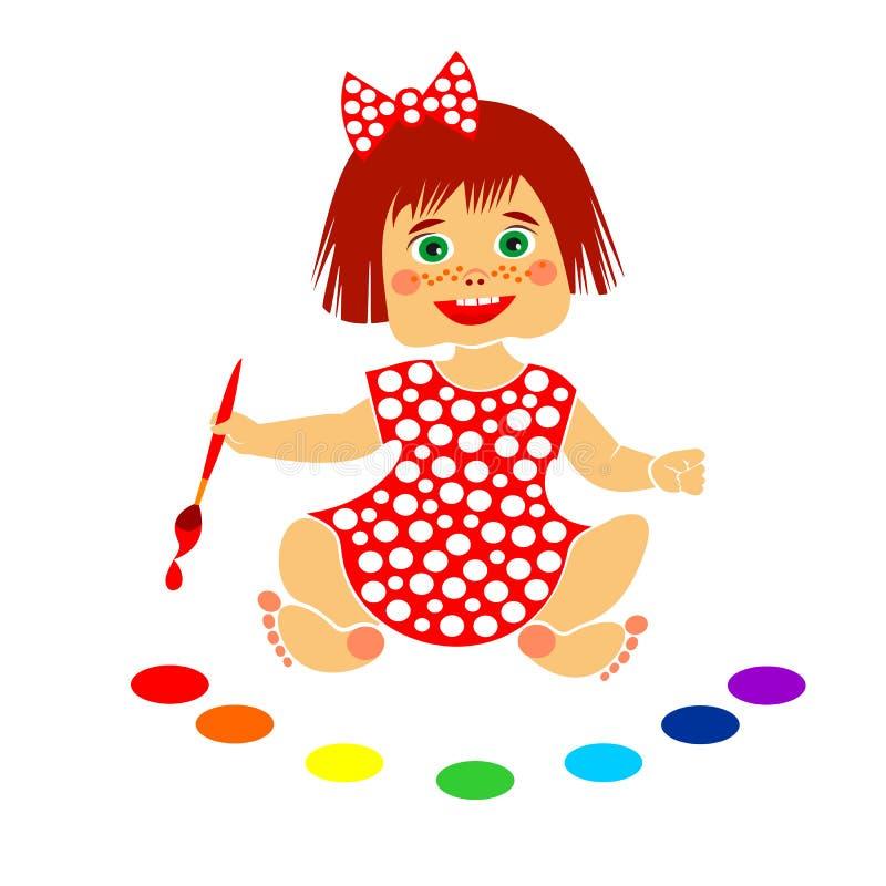 Artista de la niña con colores del cepillo y del arco iris stock de ilustración