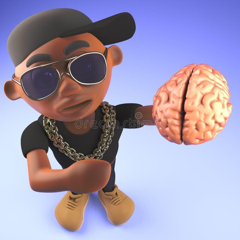 Artista de rap negro fresco del hip-hop que sostiene un cerebro humano, ejemplo 3d stock de ilustración