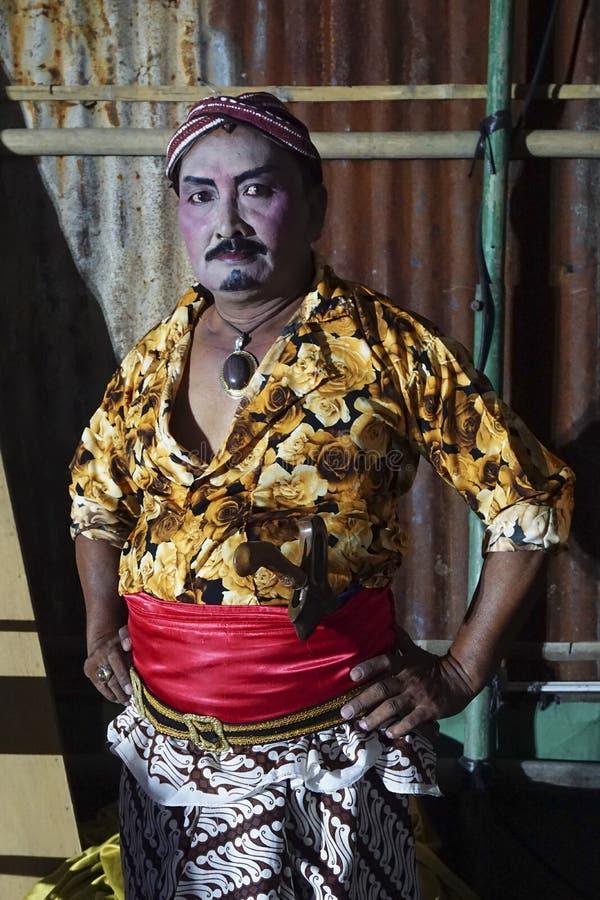 Artista de Tobong dentro no vestido tradicional do Javanese imagem de stock royalty free