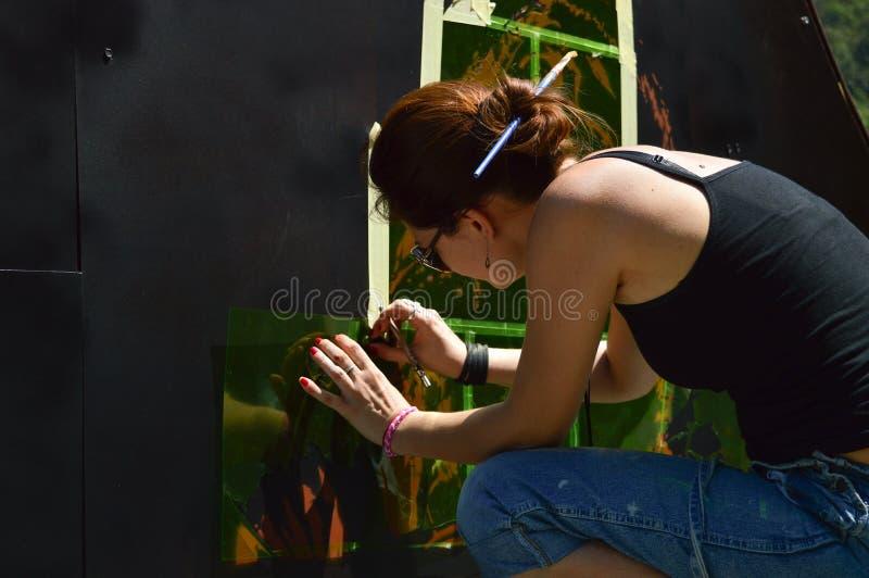 Artista dei graffiti fotografia stock libera da diritti