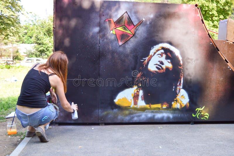 Artista dei graffiti immagine stock libera da diritti
