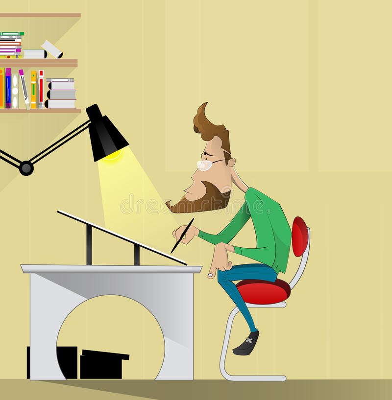 Artista del diseñador gráfico que se sienta en una tabla ilustración del vector