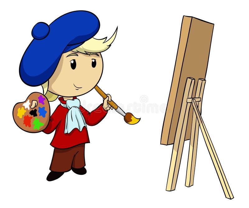 Artista del fumetto con la gamma di colori e la spazzola illustrazione vettoriale