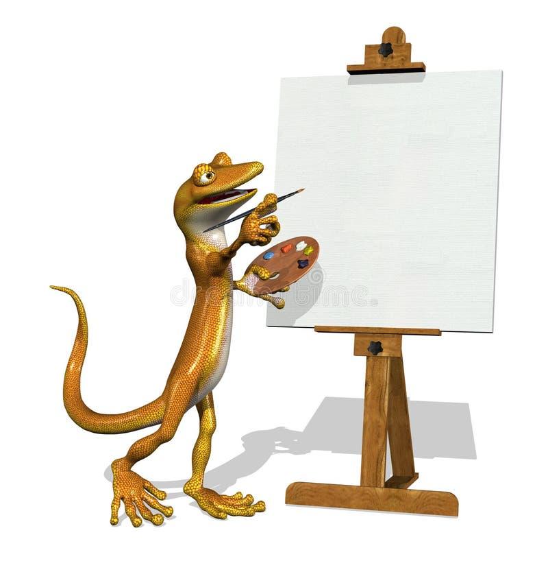 Artista del Gecko con tela di canapa in bianco illustrazione di stock