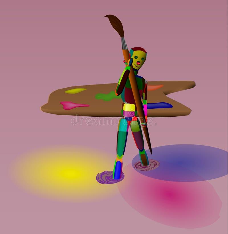 Artista del pintor con un cepillo grande libre illustration