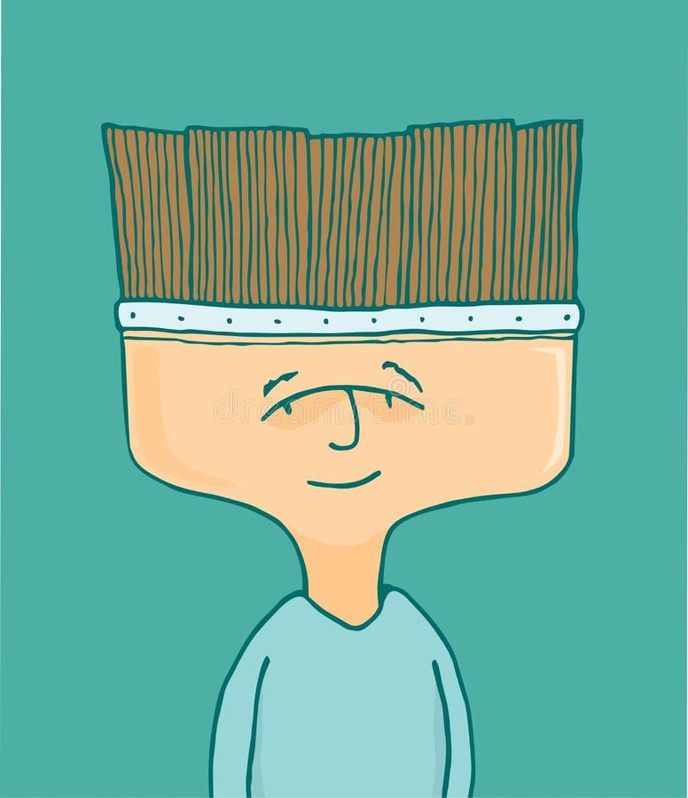 Artista del pittore o dell'uomo con la testa della spazzola illustrazione vettoriale