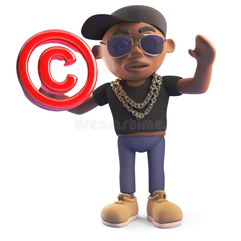 Artista di colpo secco nero fresco del hip-hop che tiene un simbolo del copyright, illustrazione 3d illustrazione di stock