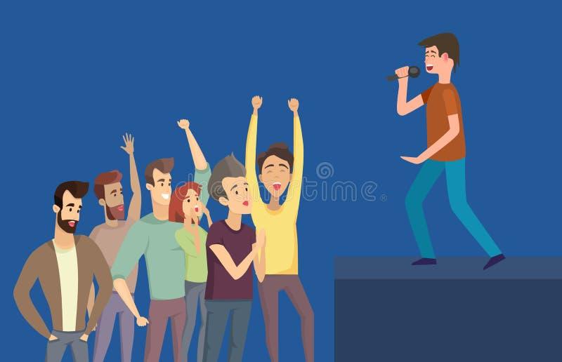 Artista di concerto e fan, vettore della fase di vista laterale illustrazione vettoriale