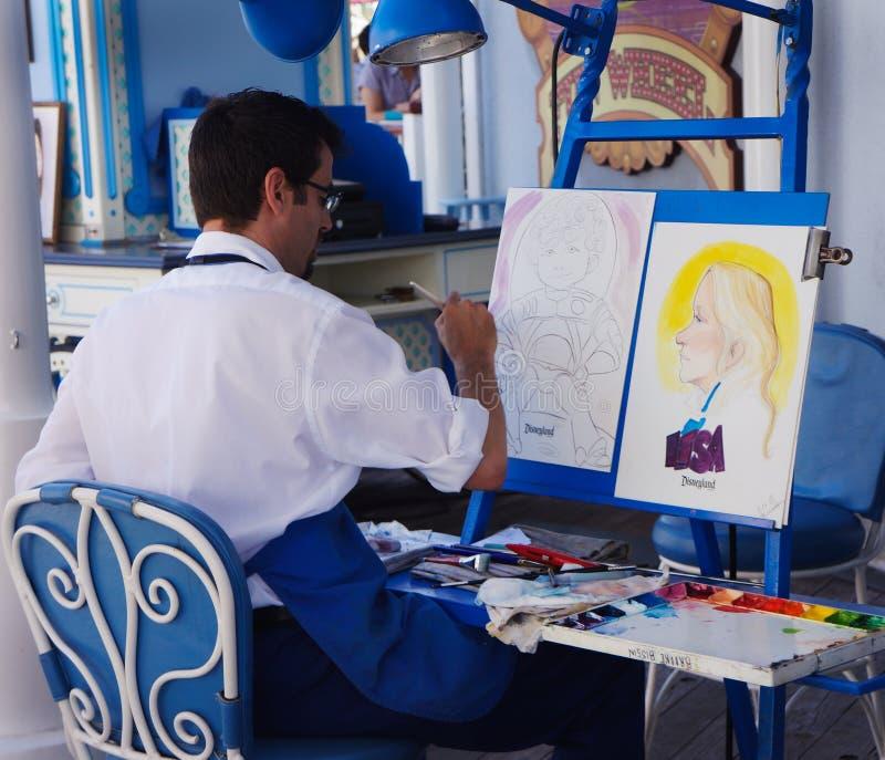Artista Disneyland del retrato de la calle fotos de archivo