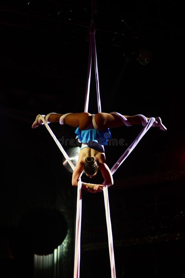 Artista do circo, desempenho acrobático, ginasta aérea fotos de stock royalty free