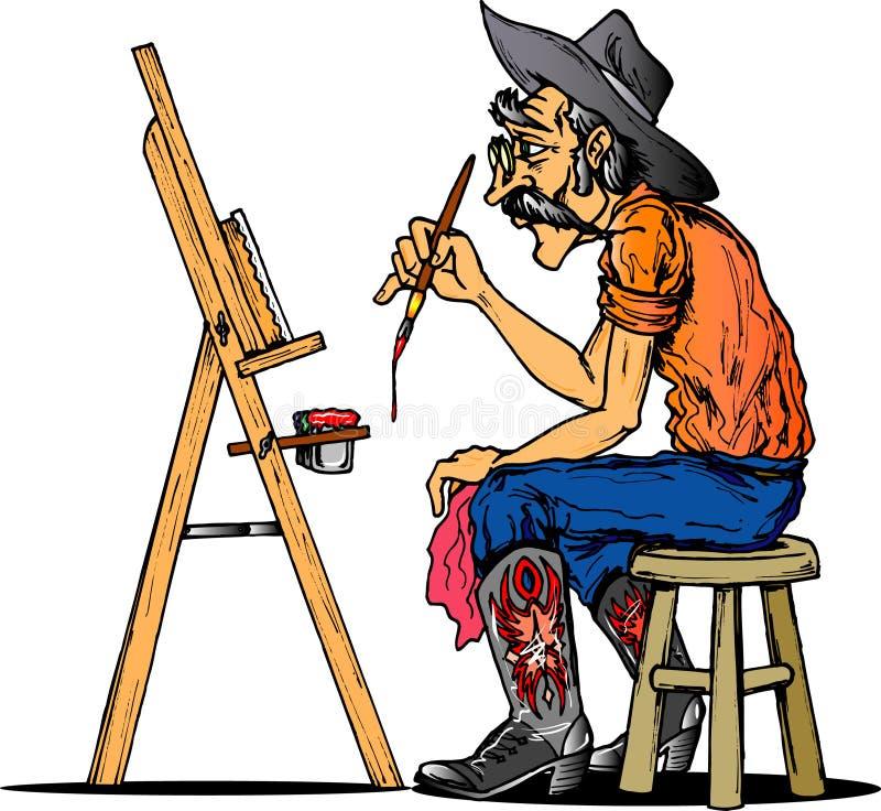 Artista do cowboy ilustração stock