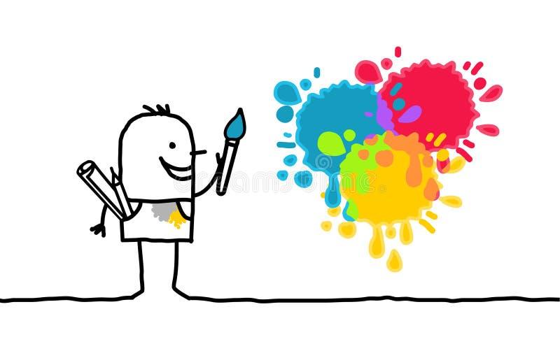 Artista e cores ilustração stock