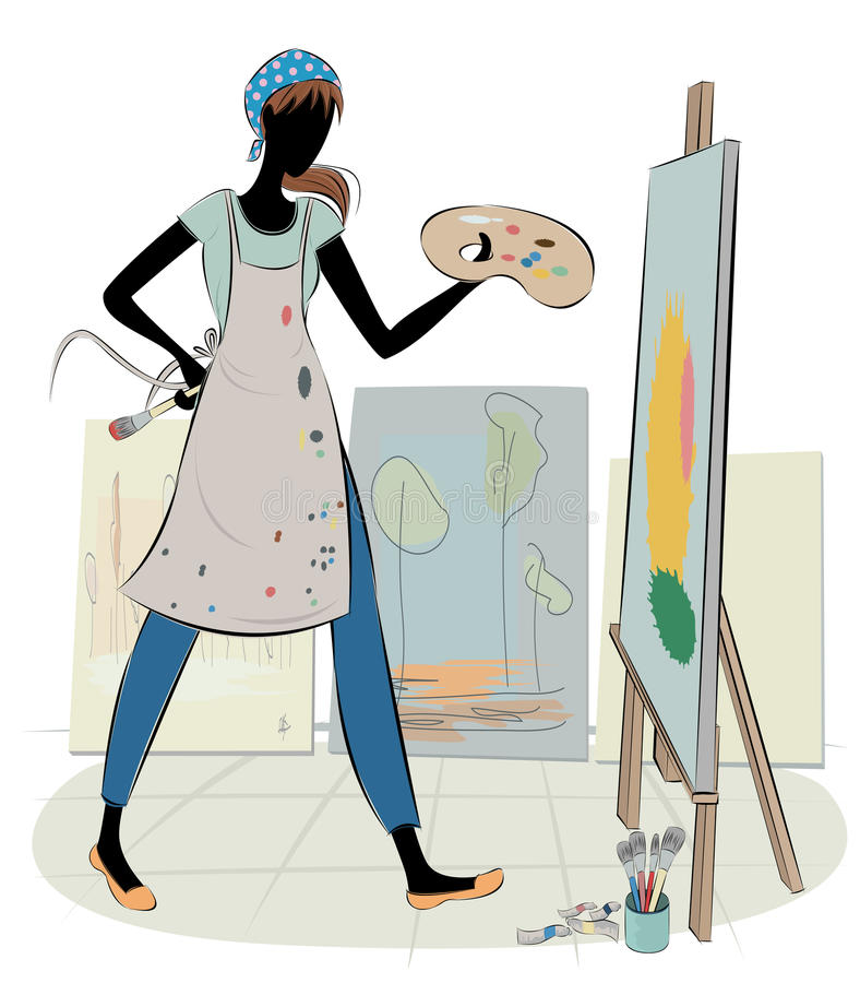 Artista en el trabajo libre illustration