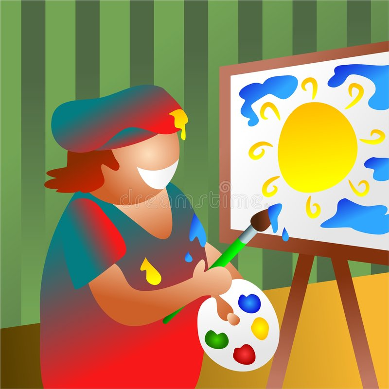 Artista en el trabajo ilustración del vector