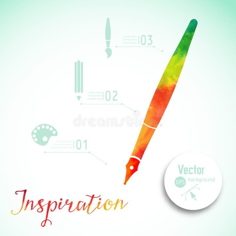 Artista en el trabajo Entinte la pluma, símbolo del ejemplo del vector del arte visual Concepto de la creatividad con la pluma co ilustración del vector