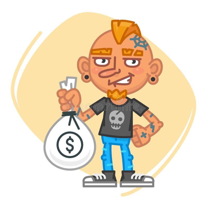 Artista Holding Big Bag del tatuaje del dinero libre illustration