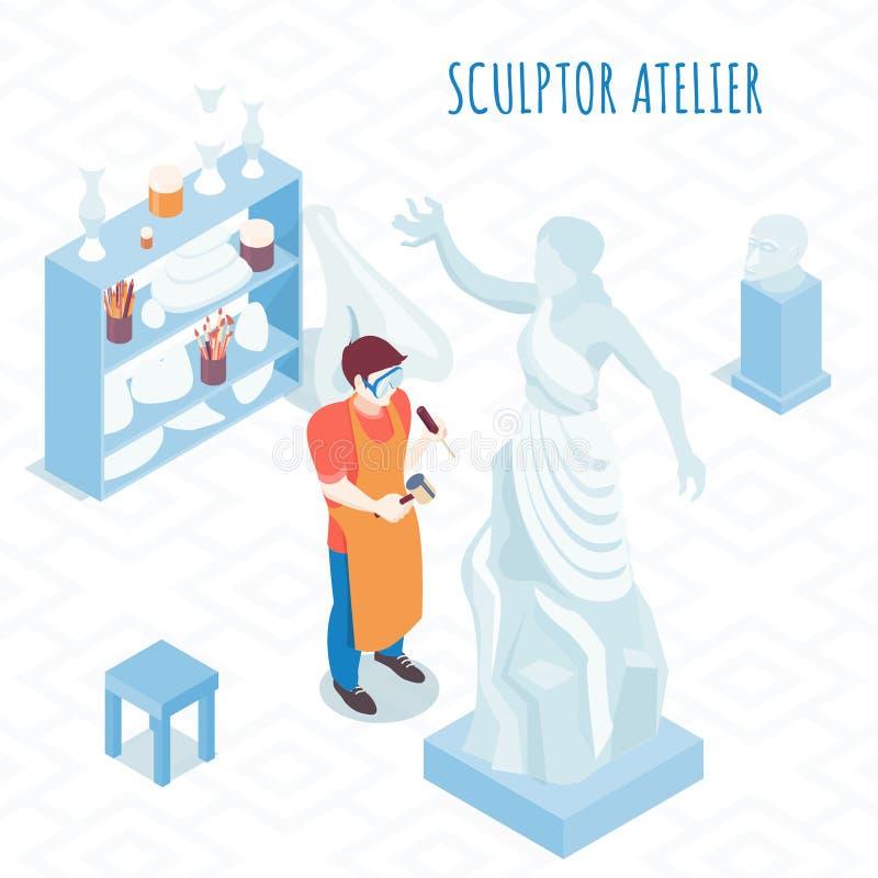 Artista Isometric Composition dello scultore illustrazione vettoriale