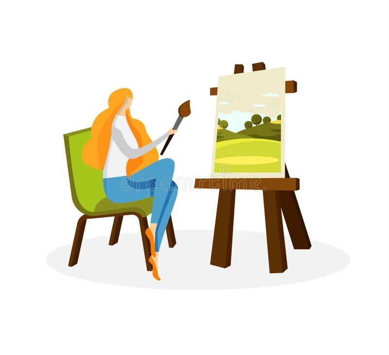 Artista lindo Drawing Acrylic Paints de la mujer en lona ilustración del vector