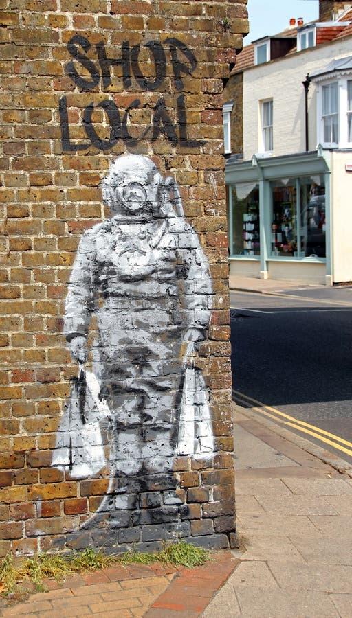 Artista local de la calle del catman del buceador de la tienda fotografía de archivo