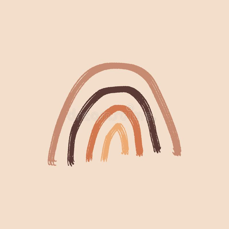 Artista moderno Paleta Terracota Pastel Elemento Simple Primitivo Ornamento Infantil Fondo Arcoiris Dibujo A Mano stock de ilustración